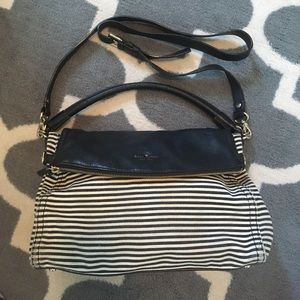 Kate Spade Black and White Stripe Foldover Bag